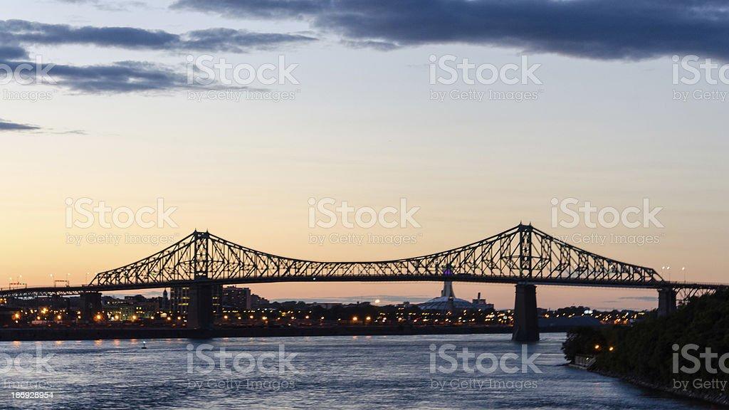 Montreal, Jacques Cartier Bridge, Architecture, St. Lawrence River, Quebec, Canada stock photo