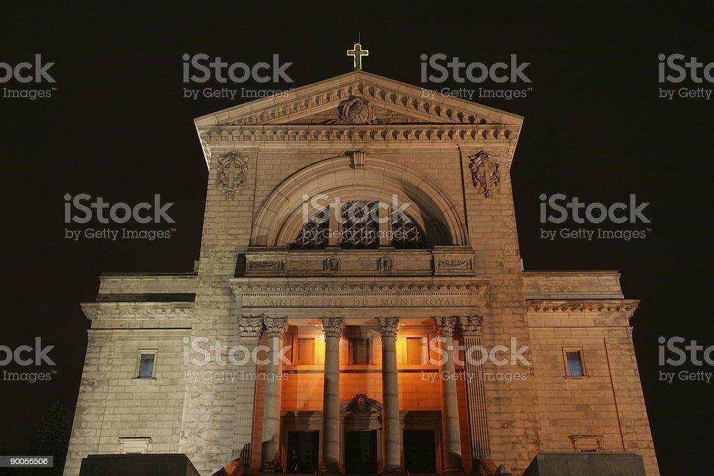 Montreal landmark at night Saint Joseph Oratory stock photo