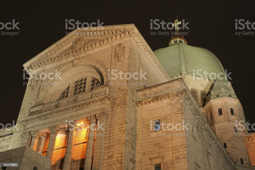 Montreal landmark at night Saint Joseph Oratory stock photo