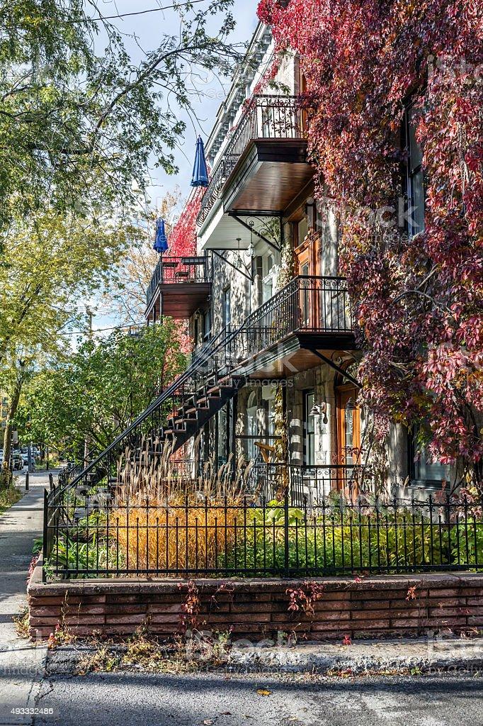 Montreal Neighbourhood in Autumn stock photo