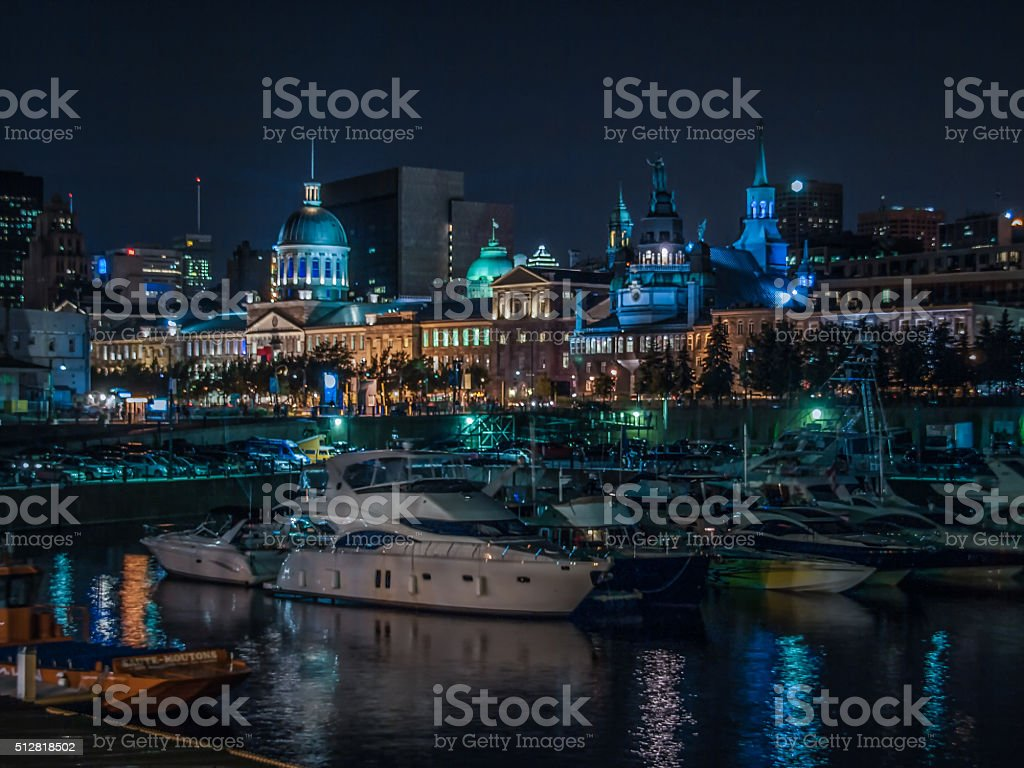 Montreal Old Port at night stock photo