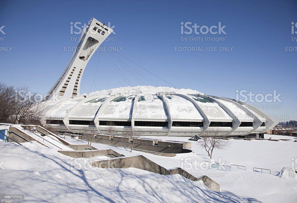 Montreal Olympic Stadium Winter royalty-free stock photo