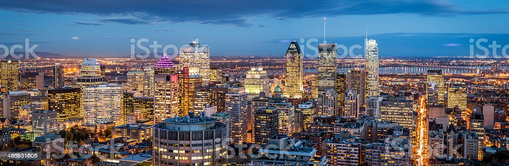 Montreal panorama at dusk stock photo