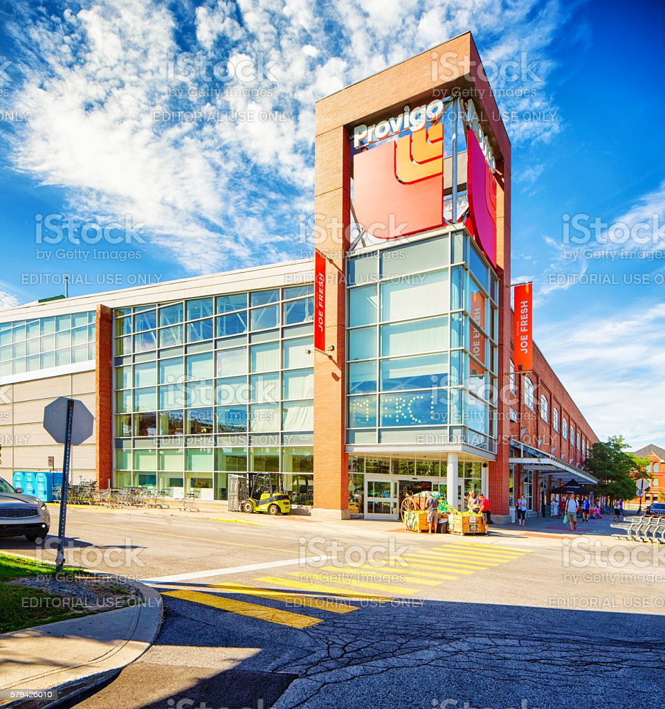 Montreal Rosemont Angus Provigo large surface grocery store stock photo