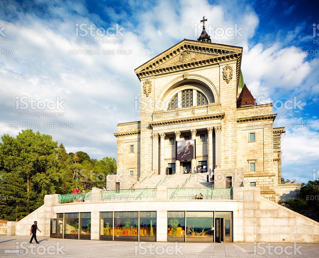 Montreal Saint-Joseph Oratory facade with tourists stock photo