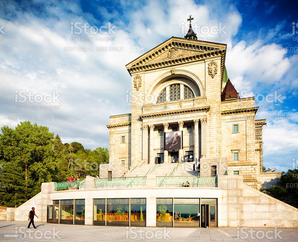 Montreal Saint-Joseph Oratory facade with tourists stock photo