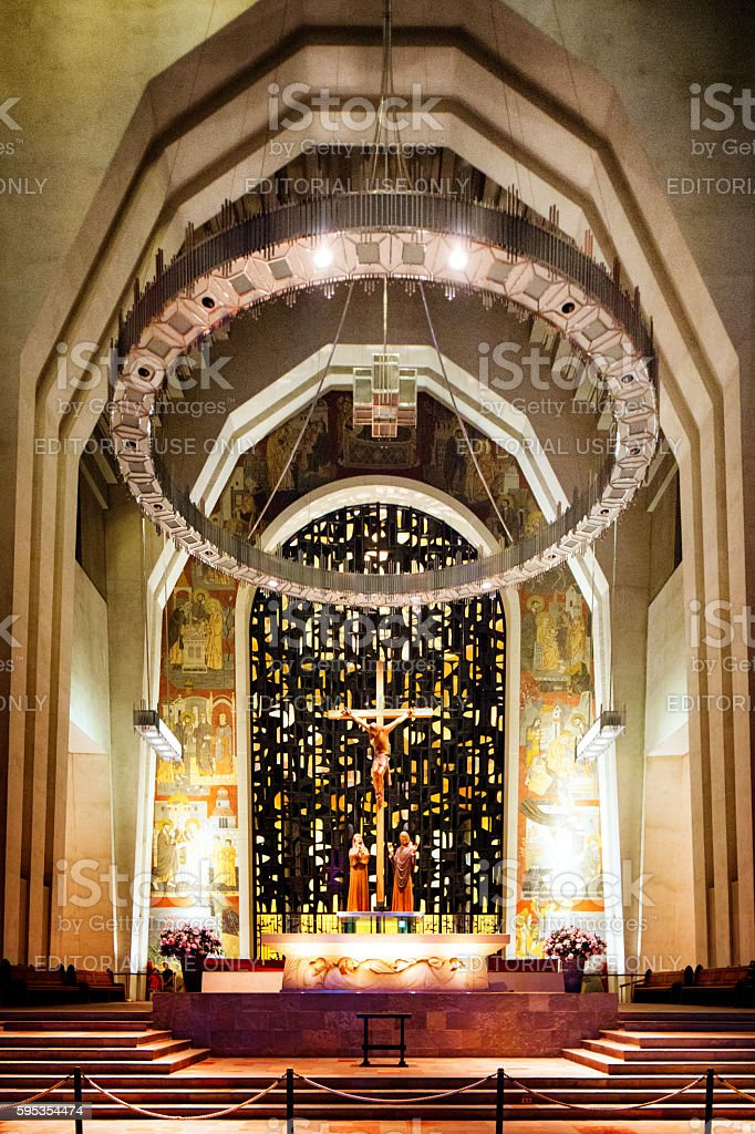 Montreal Saint-Joseph Oratory interior altar and choir stock photo