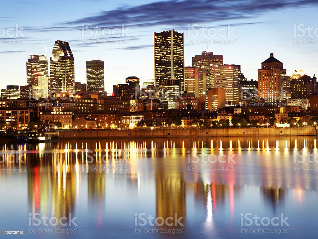 Montreal skyline and Saint Laurent river at dusk (XXL) stock photo