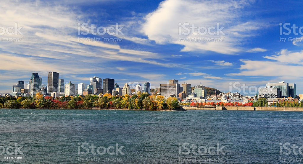 Montreal skyline and St Lawrence River in autumn, Quebec, Canada stock photo