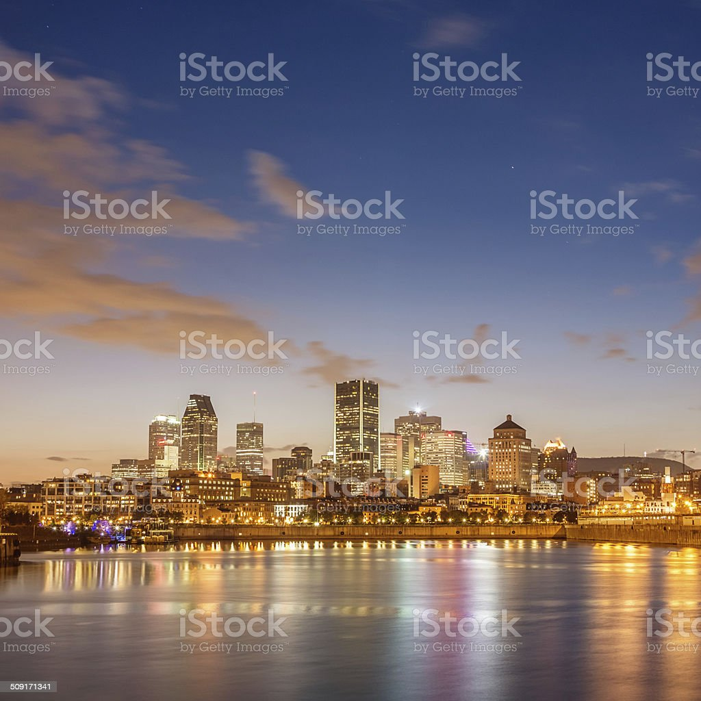 Montreal Skyline at Night, Quebec, Canada stock photo