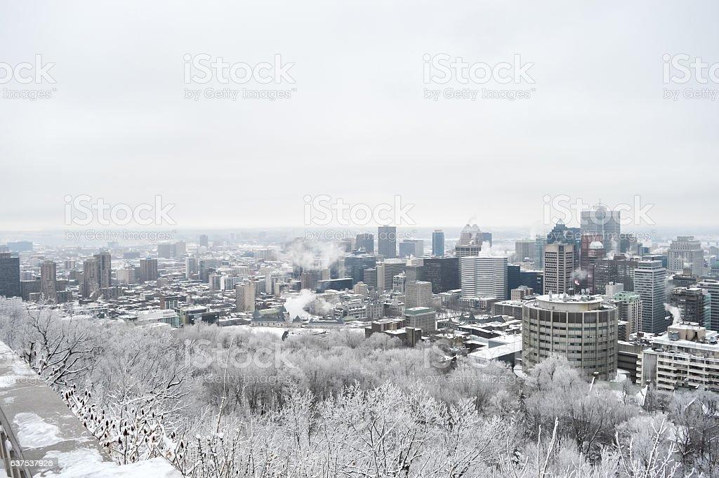 Montreal Skyline in snow stock photo