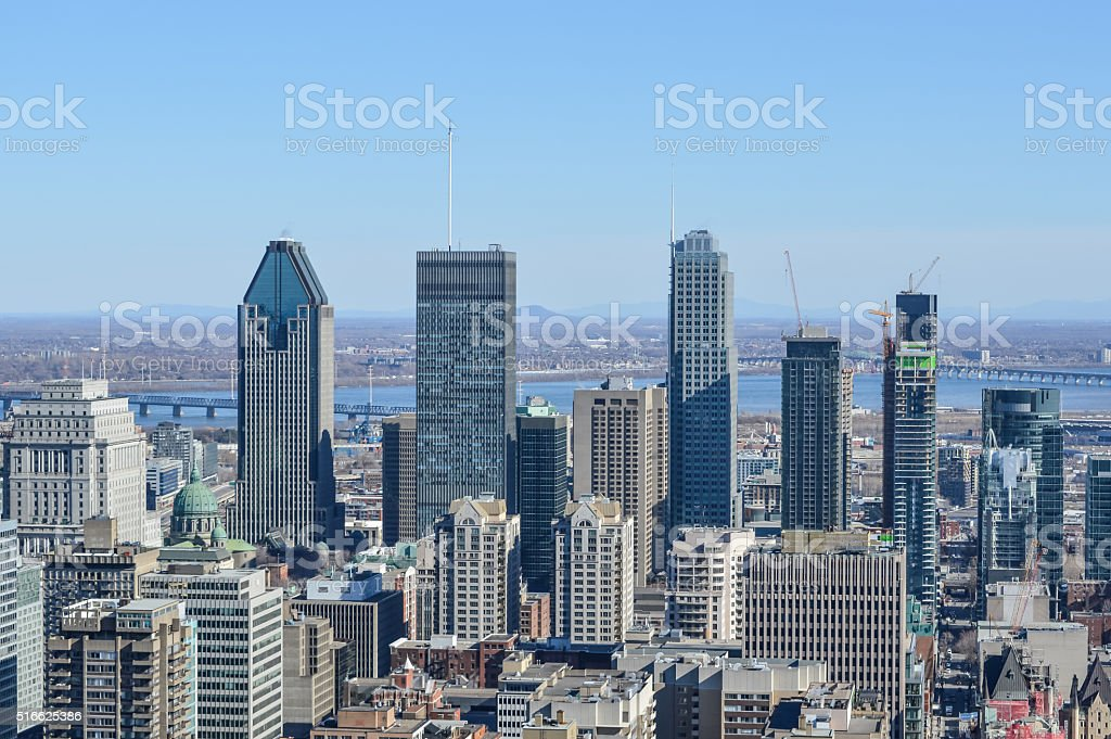 Montreal Skyline in spring stock photo