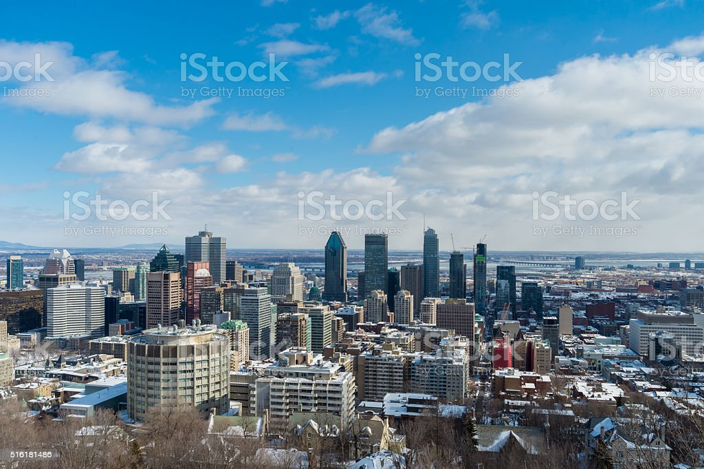 Montreal Skyline in winter stock photo