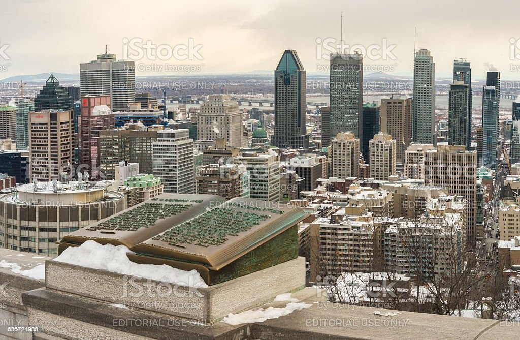 Montreal Skyline in winter stock photo