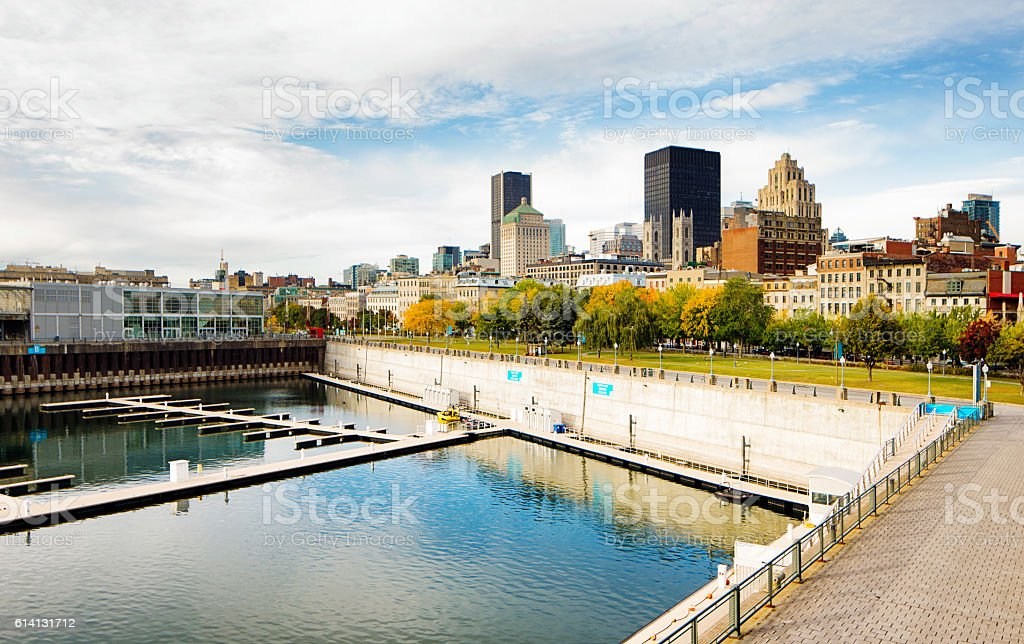 Montreal skyline with harbor  and piers Autumn morning stock photo
