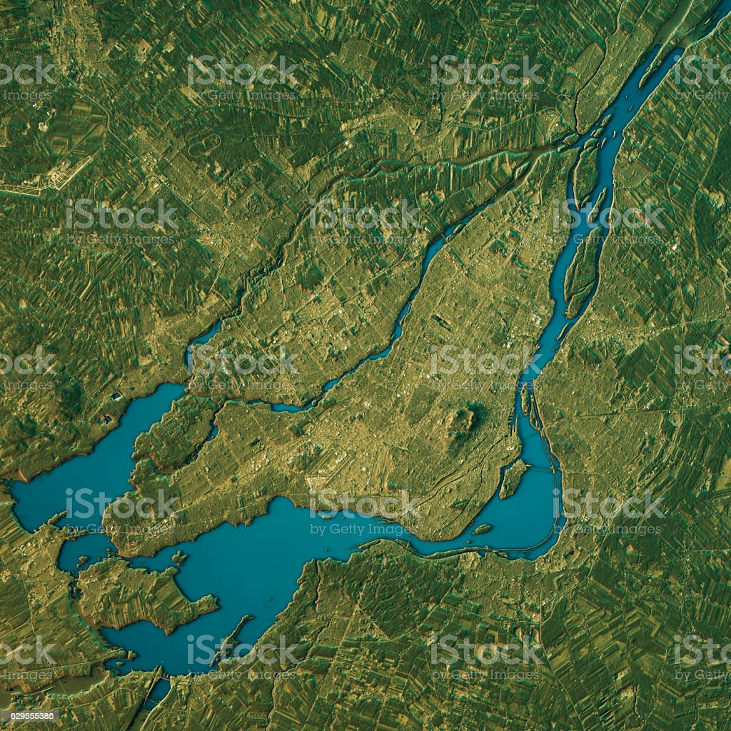 Montreal Topographic Map Natural Color Top View stock photo