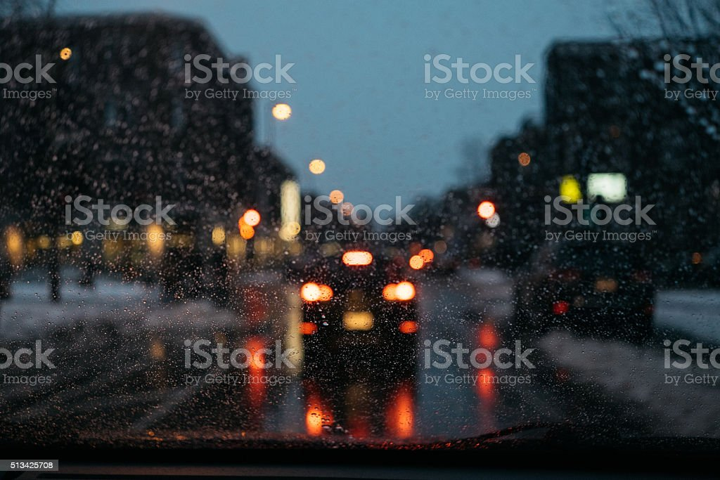 Montreal urban traffic view on a winter day stock photo