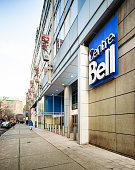 Montreal's Le Centre Bell sign and entrance sidewalk view