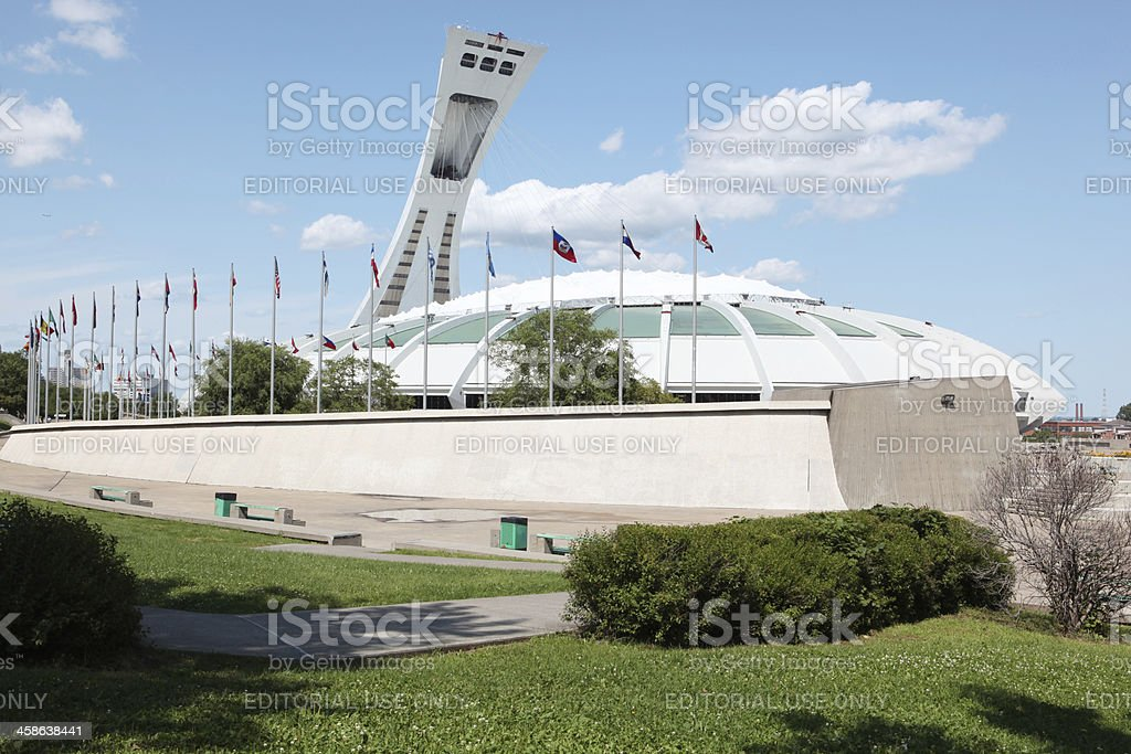 Montreal's Olympic Stadium and international flags stock photo