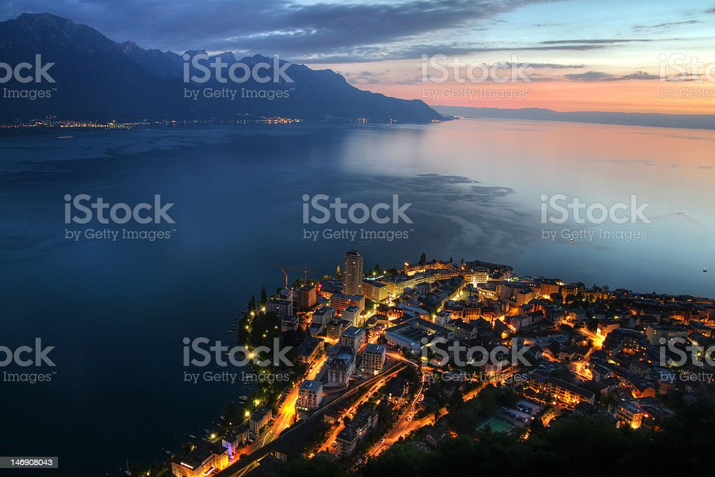 Montreux aerial, Switzerland royalty-free stock photo