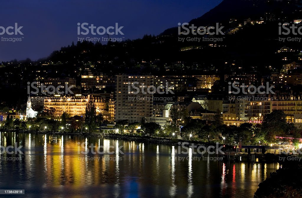 Montreux by night stock photo