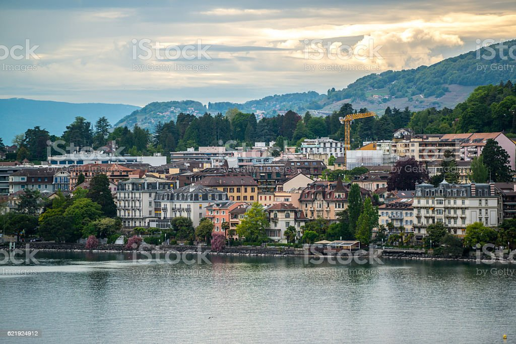Montreux cityscape: lake Geneva and Alps stock photo