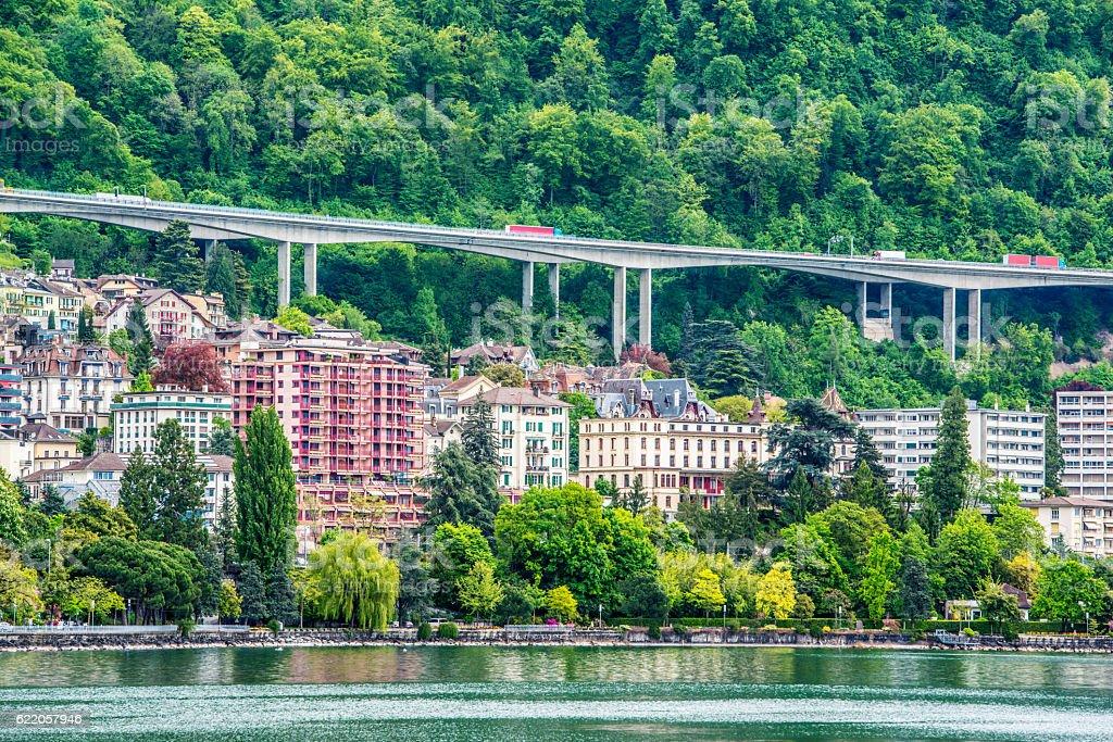 Montreux cityscape, Switzerland stock photo