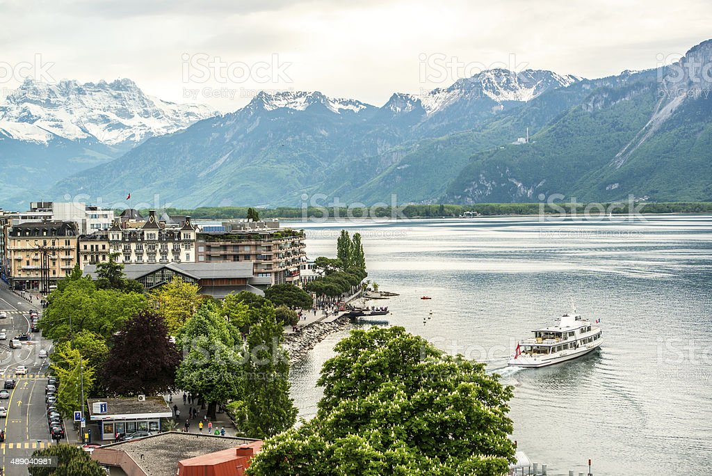 Montreux: lake Geneva and Alps stock photo