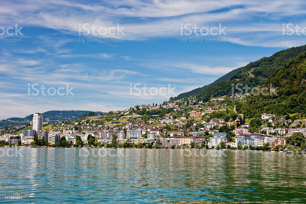 Montreux on the Swiss Riviera stock photo