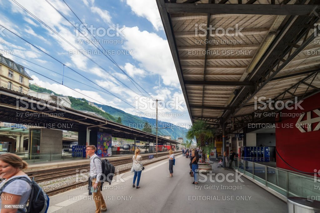 Montreux Railway station in Switzerland stock photo