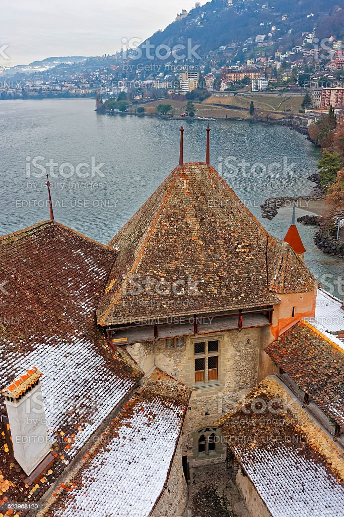 Montreux View with roof of Chillon Castle on Geneva Lake stock photo