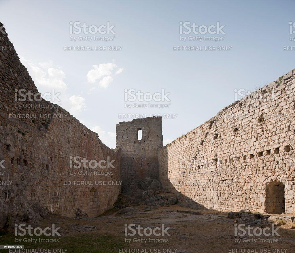 Montsegur Castle, Montségur, France stock photo