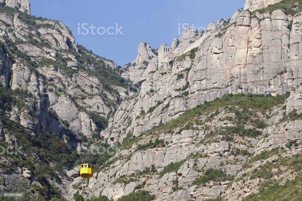 Montserrat and aerial cable car stock photo