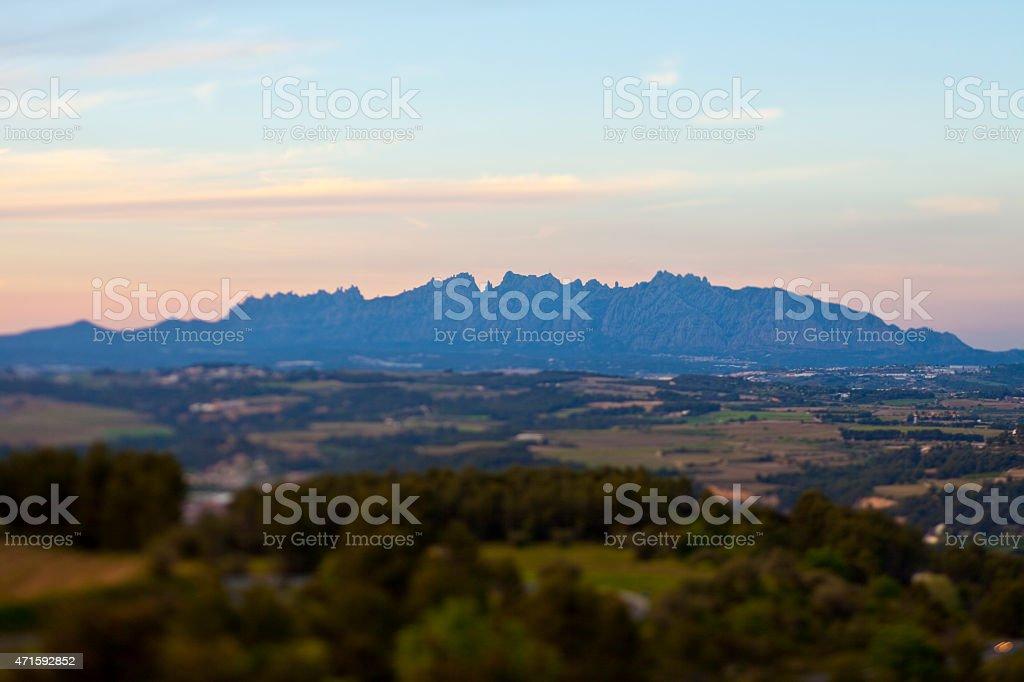 Montserrat mountain in Twilight stock photo