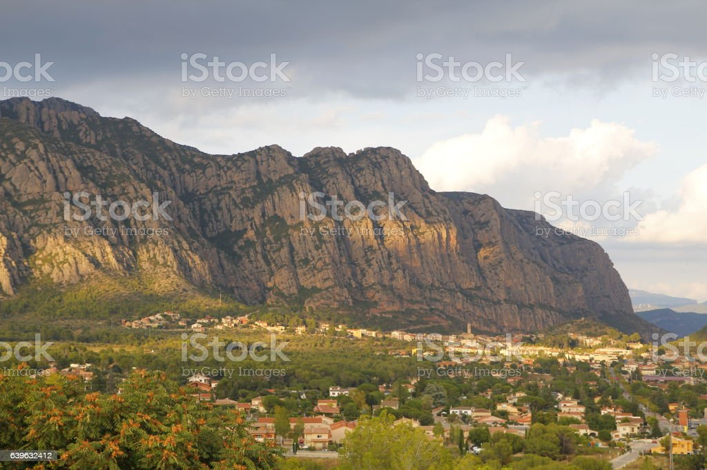 Montserrat mountains and Collbato village stock photo