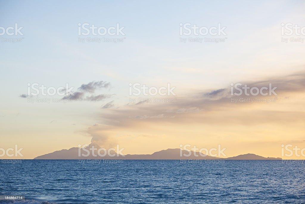 Montserrat Volcano Eruption Sunset stock photo