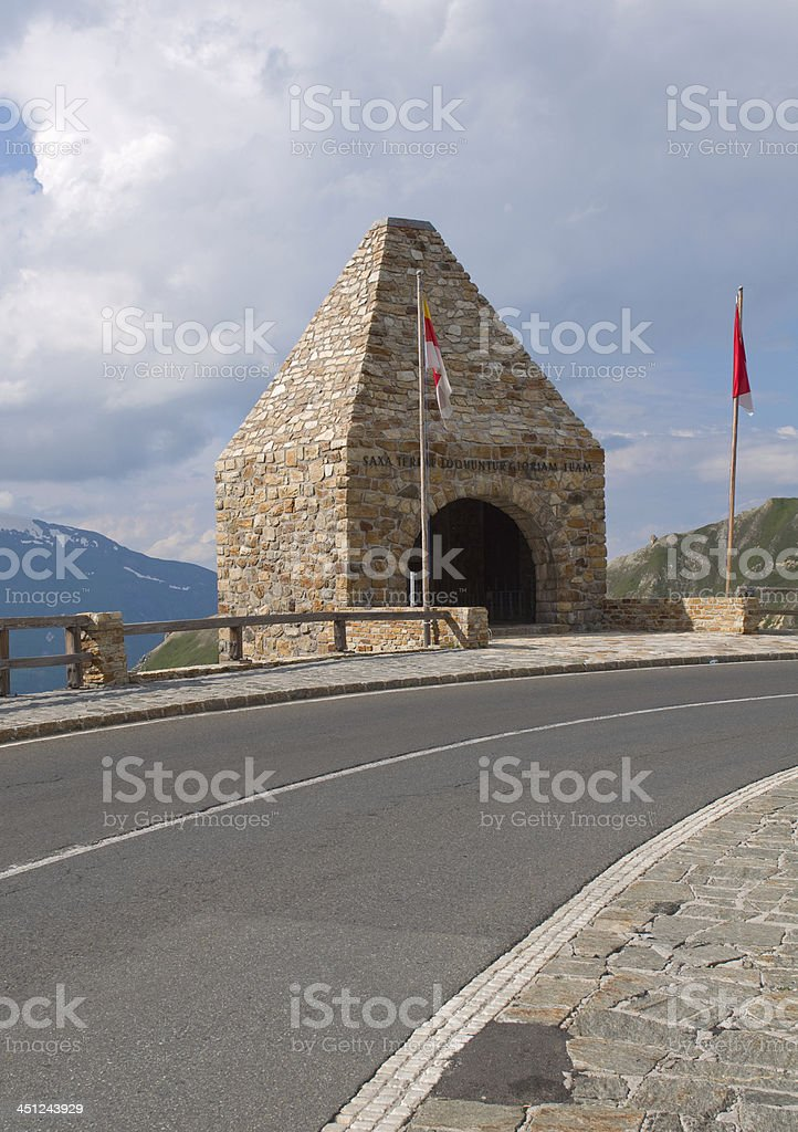 Monument alaong the road - National park Hohe Tauern (Austria) stock photo