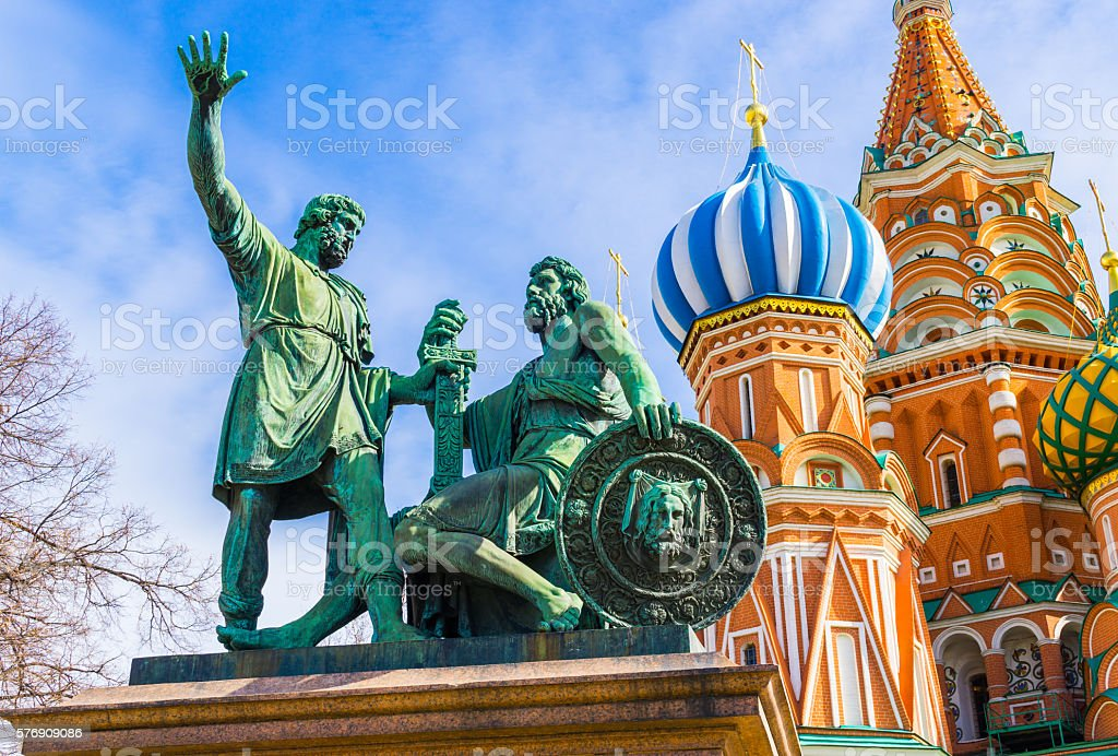 Monument and Russia Cathedral of Vasily the Blessed stock photo
