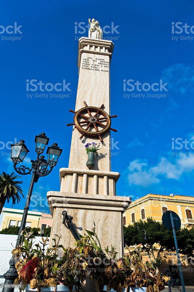 Monument at Carloforte harbor, San Pietro island, Sardinia stock photo