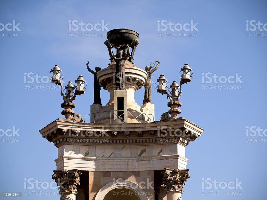 monument at the placa Espana, Barcelona, spain royalty-free stock photo