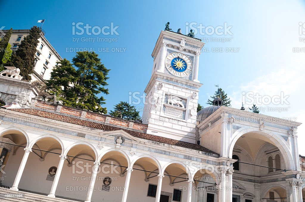 Monument building in Udine city center, Italy stock photo