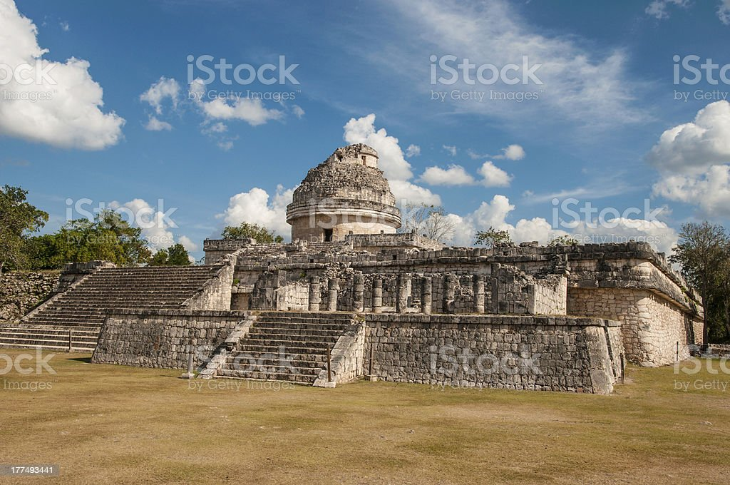 Monument Caracol at Chichen Itza on the Yucatan Peninsula stock photo