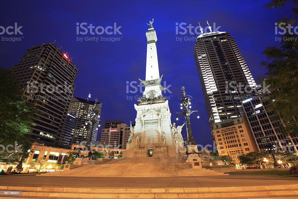 Monument Circle lit up at night in Indianapolis in Indiana stock photo