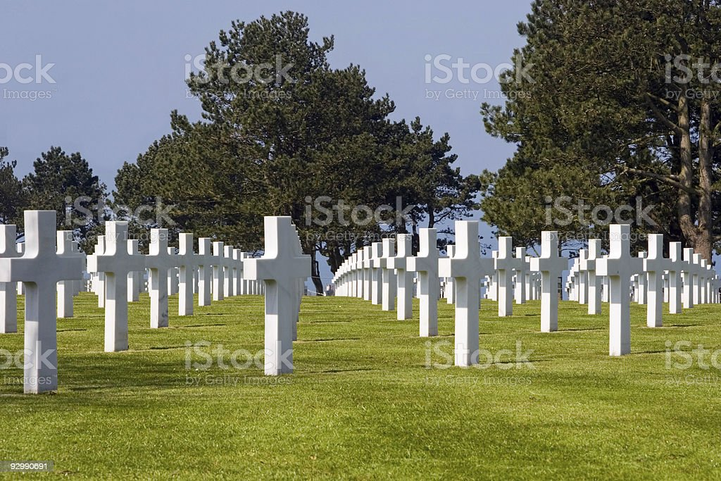 Monument crosses, Normandy American Cemetery royalty-free stock photo