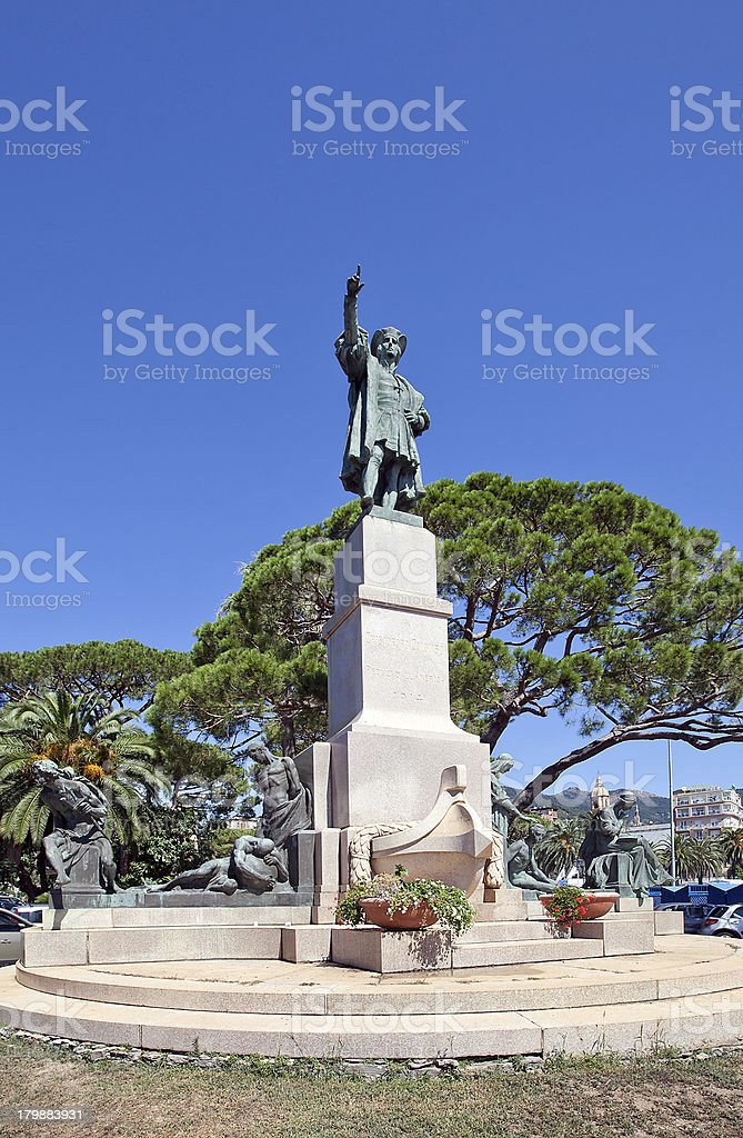 Monument for Christopher Columbus (1914) in Rapallo, Italy royalty-free stock photo