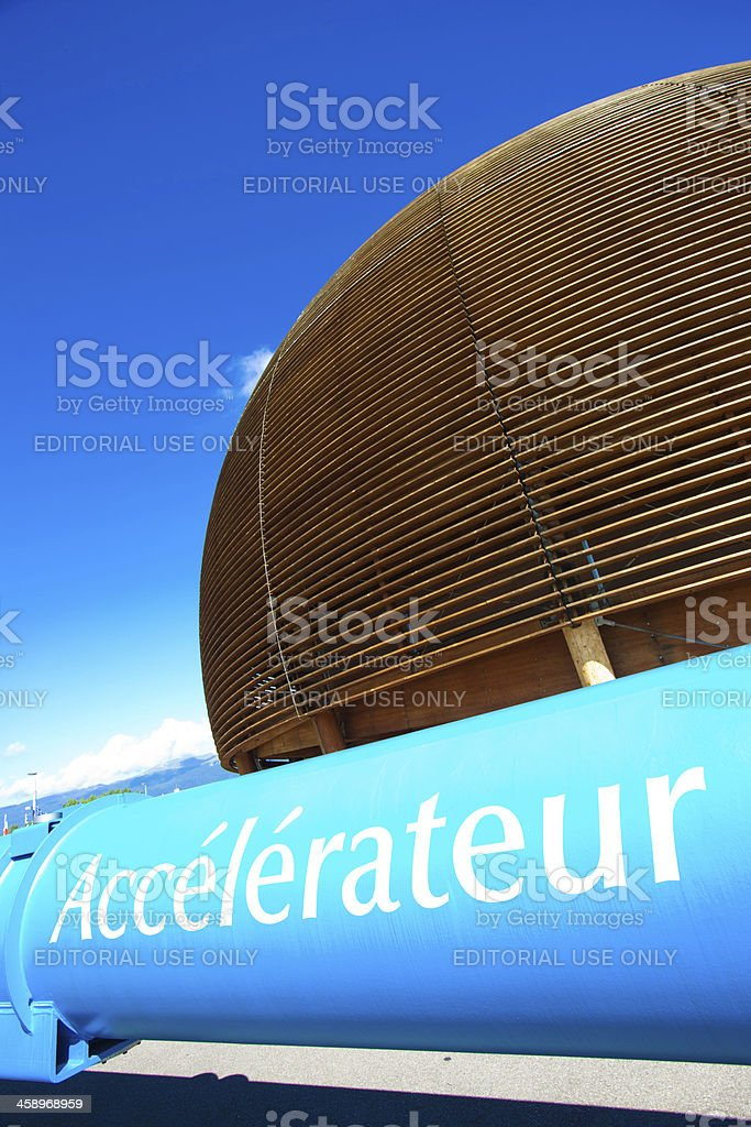 Monument given to CERN by the Swiss goverment stock photo