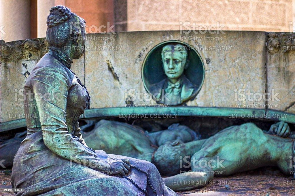 Monument in Cimitero Monumentale di Milano stock photo