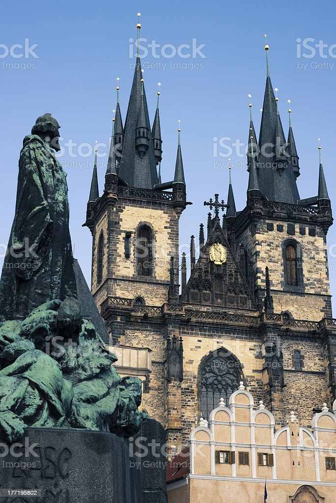 Monument in front of St Mary Church, Prague royalty-free stock photo