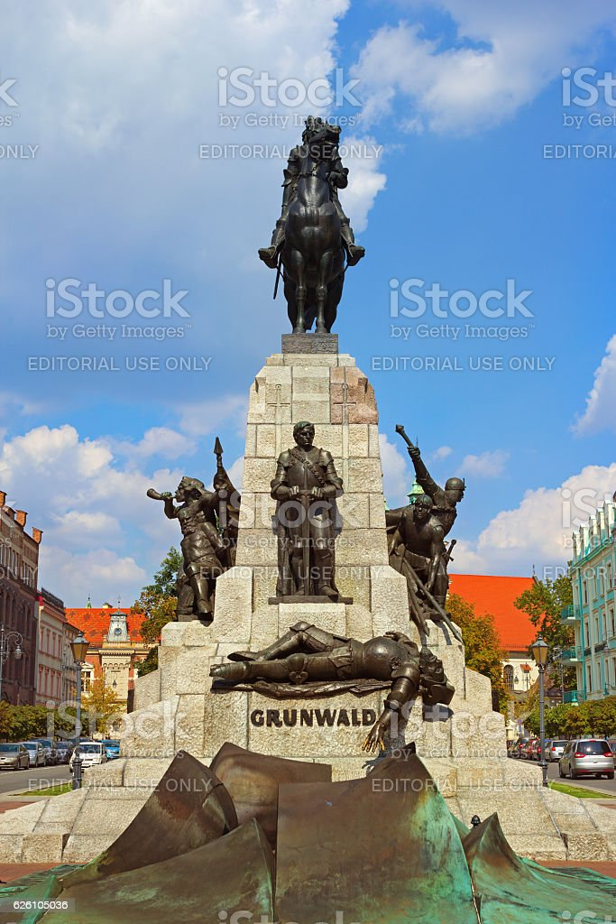 Monument in honor of the victory near Grunwald 1410 stock photo