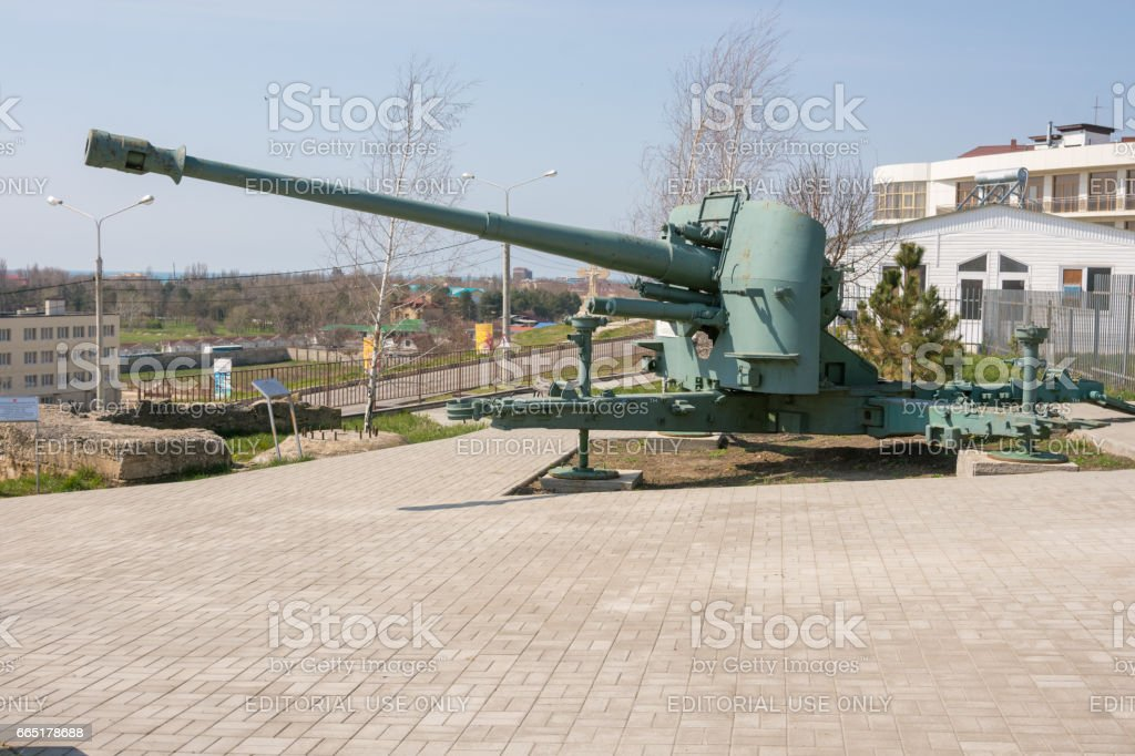 Vityazevo, Russia - April 8, 2016: A monument in honor of this place located on the shore battery firing position 464, 1942-1943 years